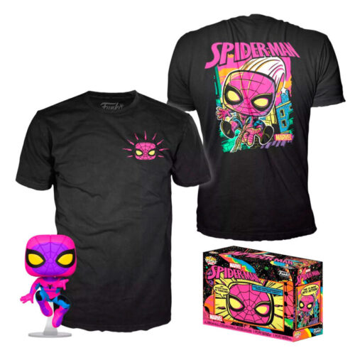 Pack Funko POP Spider-Man Y Camiseta - Black Light - Marvel 11
